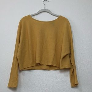 yellow ribbed cropped long sleeve